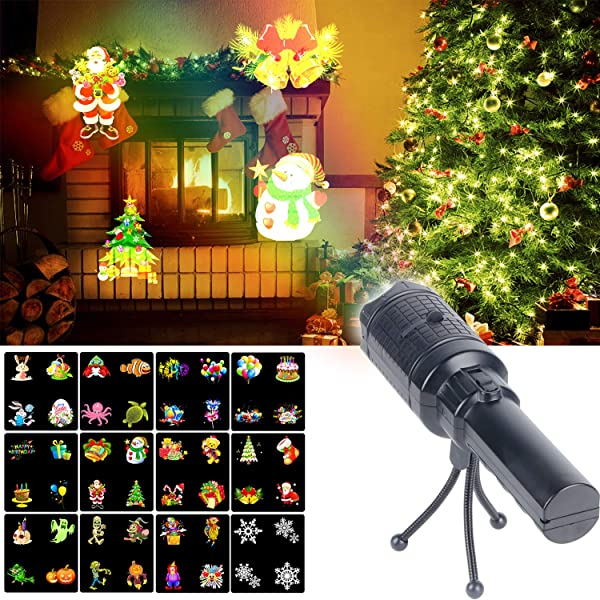 KMASHI Christmas Projector Lights, Battery Operated Projection Flashlight with 12 Changeable Pattern Slides, Kids' Handheld Projector Festival Decoration for Xmas, Halloween, Easter,Birthday and Party (Color: Tk6)