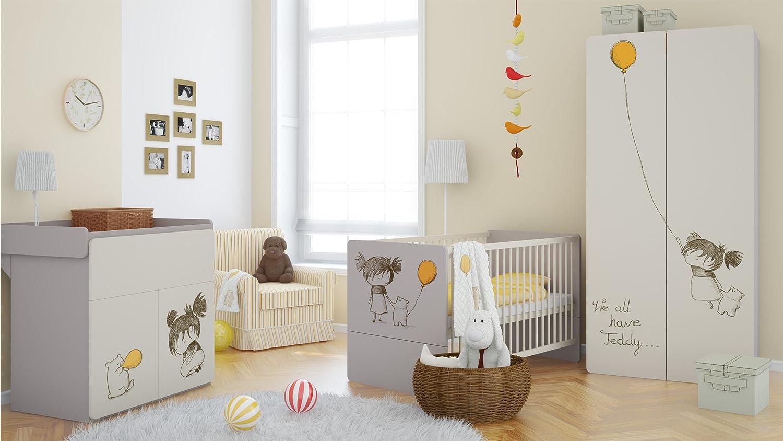 Babyzimmer Set Kinderzimmer ELEGANCE mit 'Girl'-Grafiken Babymöbel komplett 4 teilig Kleiderschrank 2-türig Babybett Wickelkommode Wandregal bestellen