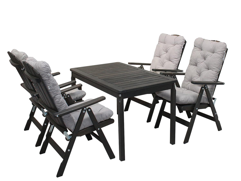 Ambientehome 90545 Gartengarnitur Gartenset Sitzgruppe verstellbare Klappstühle Stranda taupe grau braun inkl. graue Kissen und Tisch Evje 120×70 cm 9-teiliges Set günstig bestellen