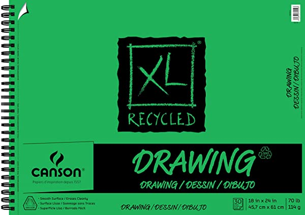 XL Recycled Drawing Pad, 18X24 Side Wire (Color: 0, Tamaño: 18X24)