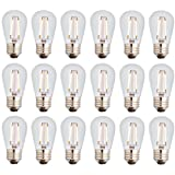 Newhouse Lighting Outdoor Weatherproof 2W S14 LED Filament Replacement String Light Bulbs | Standard Base | 18-Pack (Color: Clear, Tamaño: 18-Pack)