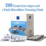 Lens Wipes Eyeglass Cleaner Wipes Remove Smudges No More Scratches Streaks Residue Pre-Moistened Cleaning Wipes (200 Count) Microfiber Cleaning Cloth (Color: 200 Count lens Wipes)