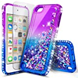 iPod Touch 6th /5th Generation Case, iPod Touch 6/5 with Tempered Glass Screen Protector for Women Girls Kids, NageBee Glitter Sparkle Bling Liquid Floating Waterfall Durable Cute Case -Purple/Blue (Color: Gradient Purpl/Blue)