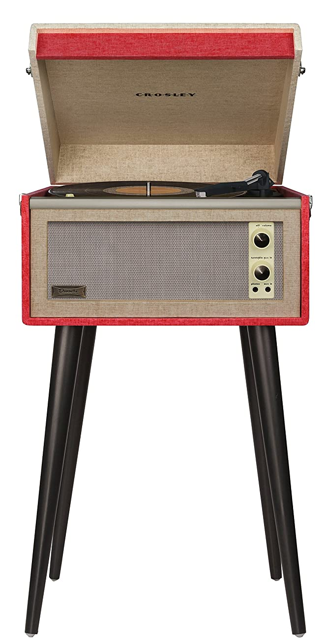 Crosley CR6233A-RE Dansette Bermuda Portable Turntable with Aux-In, Red 0