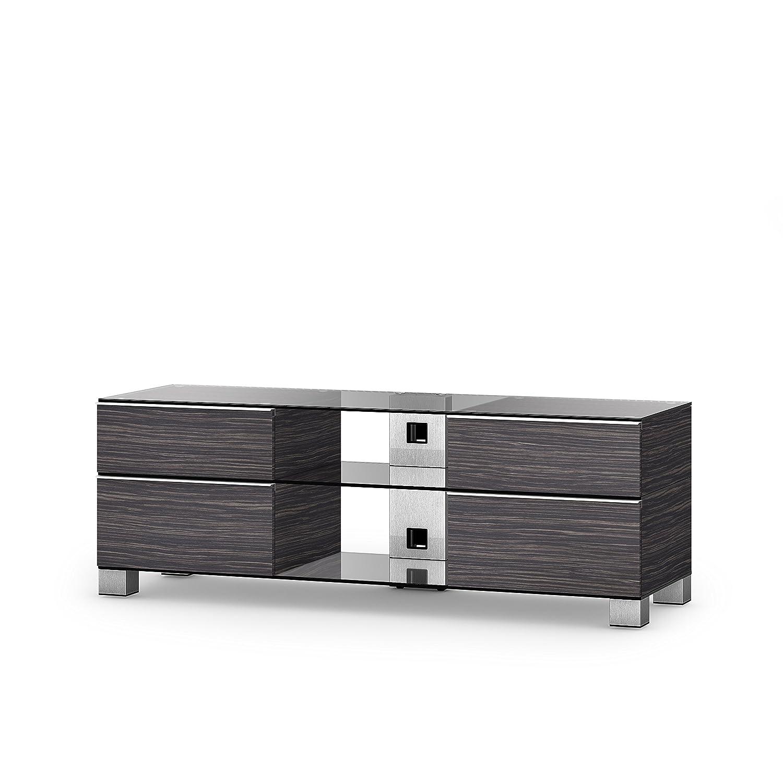 Sonorous MD 9240-C-INX-AMZ Fernseher-Möbel mit Klarglas (Aluminium Inox, Korpus Holzdekor)