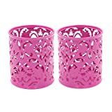 EasyPAG 2 Pcs 3-1/4 inch Dia x 3-3/4 inch High Round Floral Pencil Holder (Color: Pink, Tamaño: H Style)