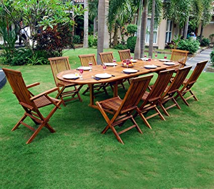 Tavolo con sedie da giardino, misura grande, 10 posti, in teak massiccio oliato