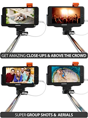 Premium 5-In-1 Wired Selfie Stick For iPhone 5, 6, Samsung Galaxy - Takes Selfies In Seconds, Get Perfect HD Photos, Video, Operates Flash - No Apps, No Downloads, No Batteries Required (Color: Black)