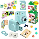 Fujifilm Instax Mini 9 Camera + Fuji INSTAX Instant Film (40 SHEETS) + 14 PC Instax Accessories kit Bundle, Includes; Instax Case + Album + Frames & Stickers + Lens Filters + MORE (Ice Blue) (Color: Ice Blue)