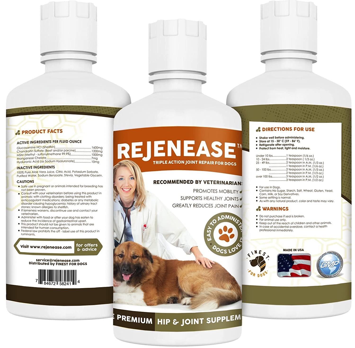 Glucosamine for Dogs - Hip and Joint Supplement for Maximum Mobility, Pain Relief and Joint Health for Dogs. All Natural Liquid Glucosamine, Chondroitin & MSM. Large 32 Oz Bottle. Made in USA. Results in 30 Days or Your Money Back. glucosamine chondroitin msm 300 таб