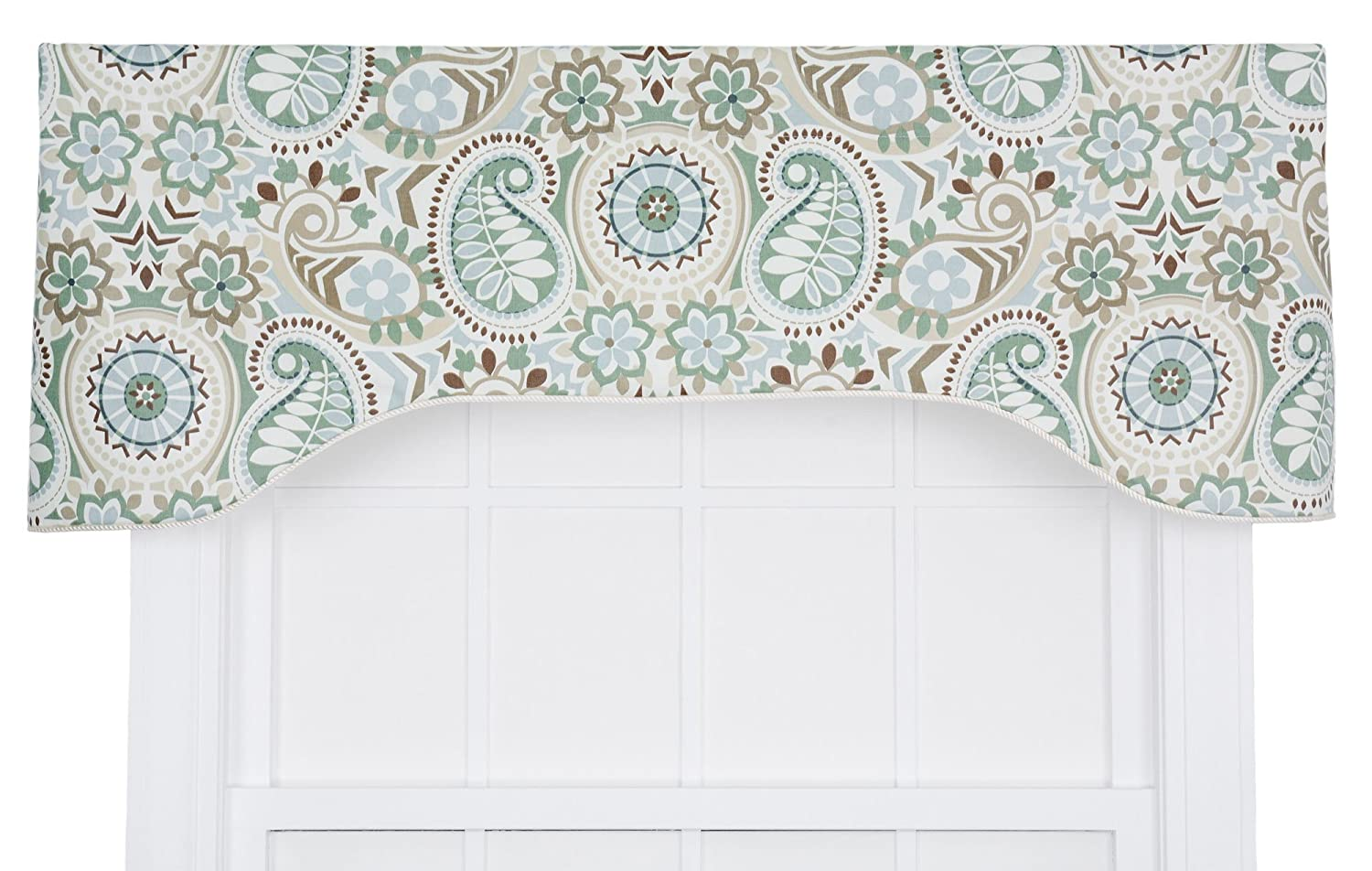 цена на Ellis Curtain Paisley Prism Jacobean Floral Print Lined Arched Valance, 50 by 17-Inch, Latte