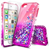 iPod Touch 7th /6th /5th Generation Case, iPod Touch 7/6/5 with Tempered Glass Screen Protector for Women Girls Kids, NageBee Glitter Sparkle Liquid Floating Waterfall Durable Cute Case -Pink/Purple (Color: Gradient Pink/Purple)