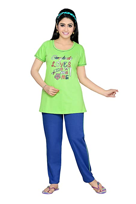 SOULEMO GIRLS & WOMENS TOP & PYJAMA SET, NIGHT SUIT, NIGHTSUITS, 103AA at amazon