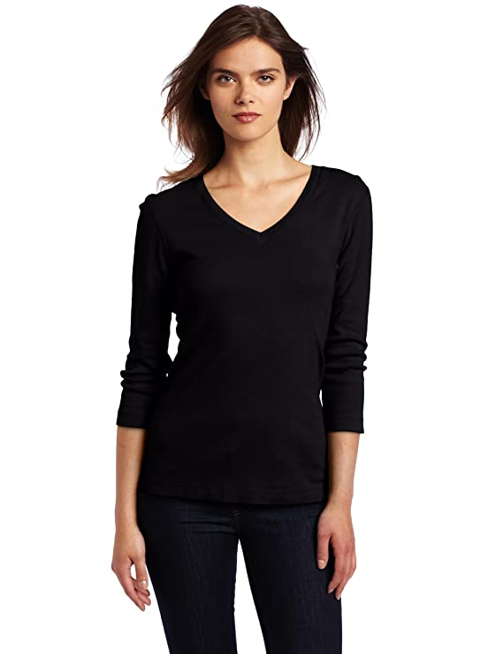 Three Dots Red Women's Three-Quarter Sleeve Deep V Tee Shirt