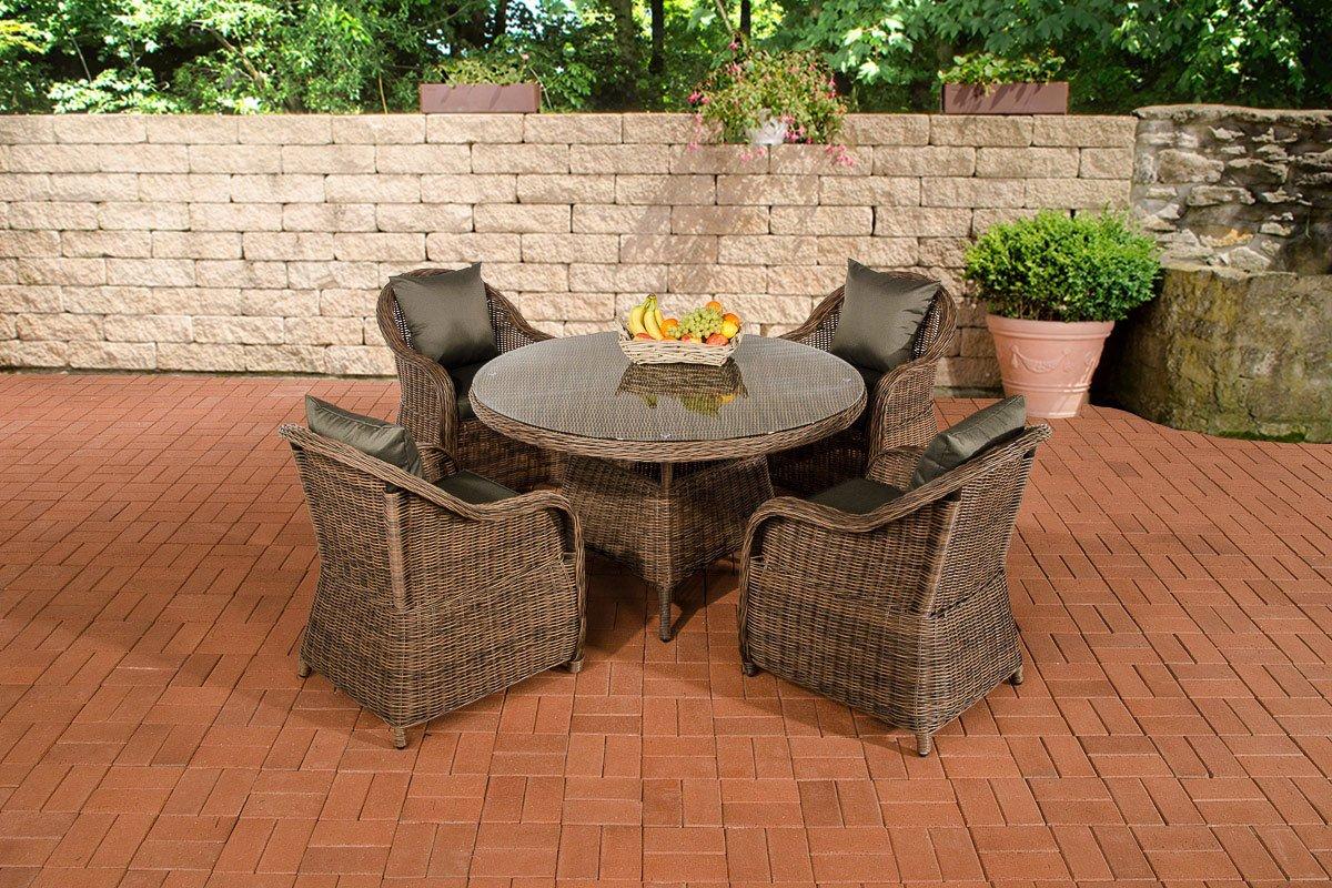 CLP Polyrattan Sitzgruppe MOA braun-meliert, 5 mm Rund-Rattan, mit Aluminiumgestell (4 Sessel + runder Tisch Ø 130 cm + 10 cm dicke Sitzauflagen) braun-meliert, Bezugfarbe anthrazit