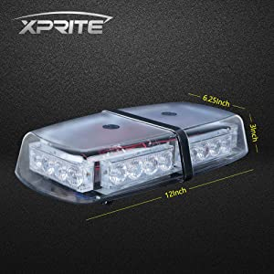 Xprite Amber/White 24 LED 12W Rooftop Strobe Light with Magnetic Base