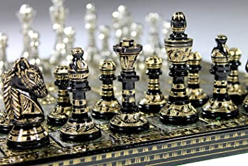 Buy Chess Board Metal Brass Chess Set With 100 Brass Pieces