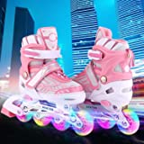 ANCHEER Inline Skates Kids Roller Skates for Women Girls Quad Skate Adjustable Boys Kid Toddlers Youth Outdoor Size 12-8 Christmas Birthday Gifts (R3:Pink&White, US 2-5) (Color: R3:Pink&White, Tamaño: US 2-5)