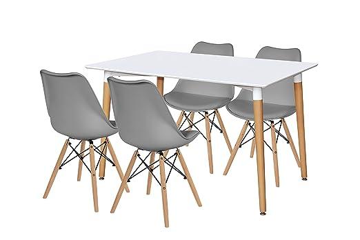 Lote de mesa Kiel 120 + 4 sillas Tower+ grises