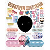 Gender Reveal Party Supplies (124 Pieces) - Includes Invitations - 36inch Gender Reveal Balloon - Baby Game - Boy or Girl Banner - Foil, Pearl & Confetti Balloons - Photo Props - Cupcake Toppers (Color: Pink Blue)