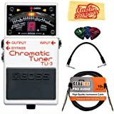 Boss TU-3 Chromatic Tuner Bundle with Instrument Cable, Patch Cable, Picks, and Austin Bazaar Polishing Cloth (Tamaño: Bundle w/ Cables)
