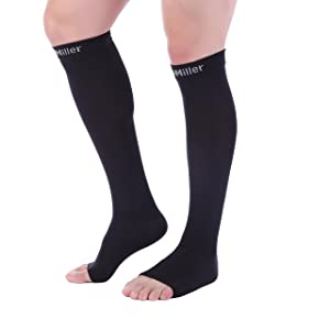 Doc Miller Open Toe Compression Socks 1 Pair 20-30mmHg Support (Black 3XL-T) (Color: Black Open Toe, Tamaño: 3X-Large TALL)