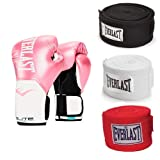 Everlast 8 Ounce Training Boxing Gloves, Pink & 120 Inch Hand Wraps (3 Pack) (Color: Pink, Tamaño: 8 ounces)