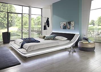 SAM® Polsterbett Bett Custavo LED in weiß / schwarz 160 x 200 cm abgerundetes modernes Design Beleuchtung vorhanden