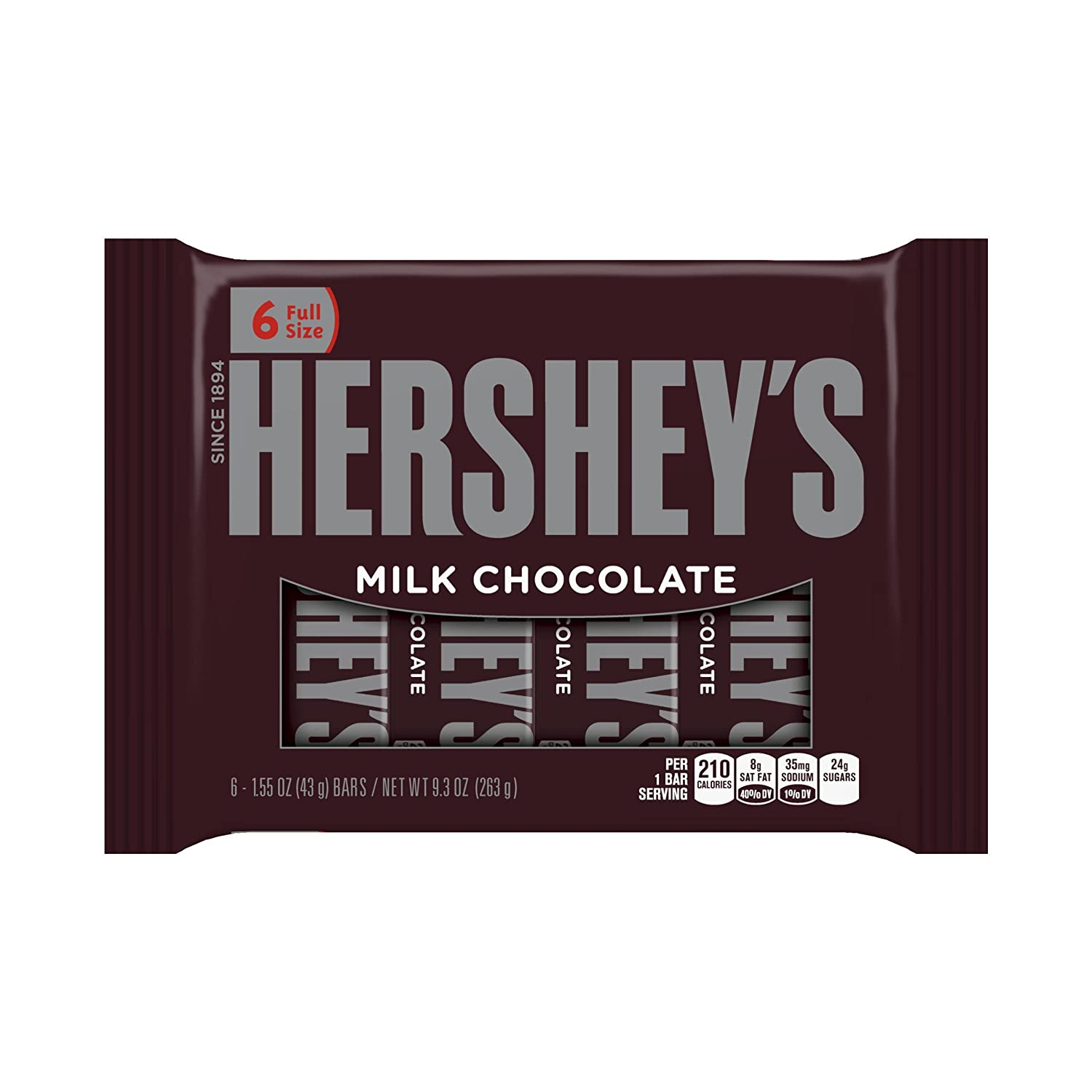Hershey's Milk Chocolate Bars, 6-Count, 9.3-Ounce Bars (Pack of 4)
