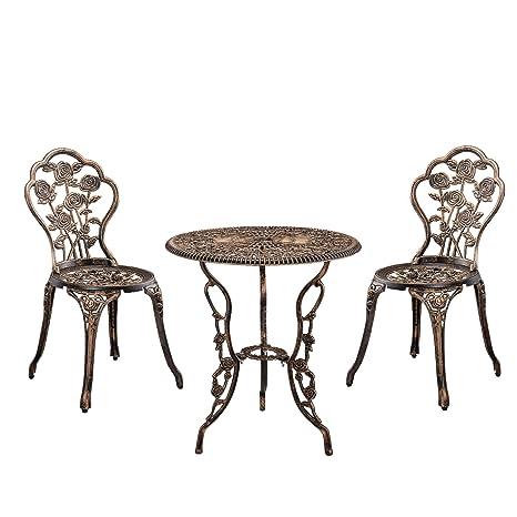 [casa.pro] Gartentisch / Bistro-Tisch 60cm, rund, Bronze mit 2 Stuhlen - Französische Gartenmöbel im Antik-Look fur Balkon / Terrasse - Bistro-Set wetterbeständig, Gusseisen-Metall als Gartendeko