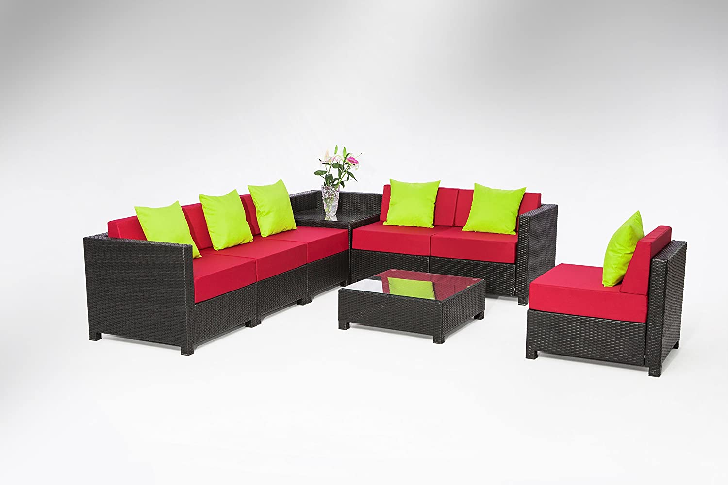 Exacme 8 pcs Luxury Wicker Patio Sectional Indoor Outdoor Sofa Furniture set Red