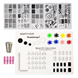 Beaute Galleria Bundle Nail Art Stamping Set: 5pcs Premium Etched Stamping Image Template Plates, Silicone Nail Mat, Nail Stamper, Plate Scraper & Instruction Card