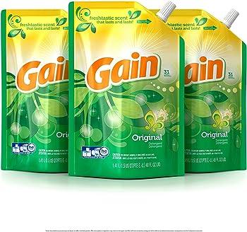 3-Pack Gain Smart Pouch Original Liquid Laundry Detergent
