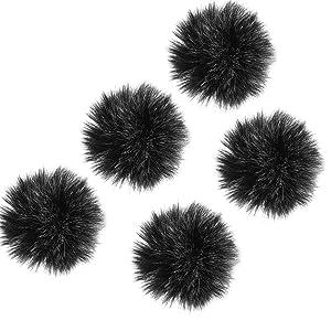 TecUnite 5 Pack Mini-size Lapel Lavalier Microphone Furry Windscreen Muff
