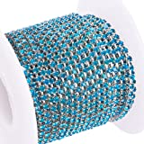 BENECREAT 10 Yard Crystal Rhinestone Close Chain Clear Trimming Claw Chain Sewing Craft About 2880pcs Rhinestones, 2mm - Blue (Silver Bottom) (Color: Blue (Silver Bottom), Tamaño: 2mm)