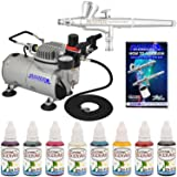Master Airbrush Professional Airbrushing System Kit with 8 Color Water-Based Face and Body Art Paint Set - Washable Temporary Tattoos - G34 Gravity Feed Airbrush, Air Compressor, How-To-Airbrush Guide (Color: Silver)