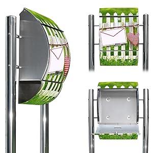 Edelstahl Standbriefkasten mit Fuß und Motiv Gartenzaun   Überprüfung und weitere Informationen