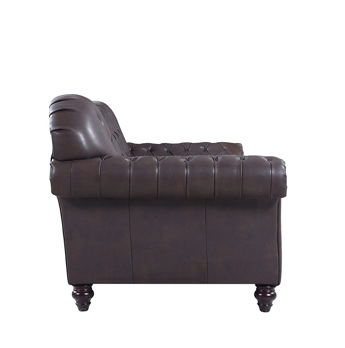 Divano Roma Furniture Classic Tufted Real Italian Leather Tufted Victorian Sofa - Real Italian Leather (Dark brown)