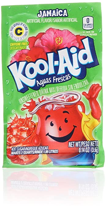 Kool-Aid Aguas Frescas Jamaica Unsweetened Soft Drink Mix, 0.14 Ounce (Pack of 192)