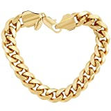 Lifetime Jewelry Cuban Link Bracelet 11MM, Round, 24K Gold Overlay Premium Fashion Jewelry, Guaranteed Life, 8 inches (Color: Yellow)