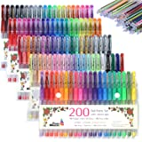 Cedar Markers Gel Pens. 200 Set 100 Pens Plus 100 Refills. Color Pens with Grip. Neon, Glitter, Metallic, Pastel Colors No Duplicates. Drawing Pens for Bullet Journal. (Color: Assorted, Tamaño: 200 Set)