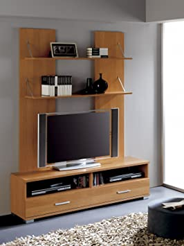 Mueble salon comedor Dymas con modulo bajo y estantes, 150x190, color cerezo