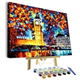 VIGEIYA DIY Paint by Numbers for Adults Include Framed Canvas and Wooden Easel with Brushes and Acrylic Pigment 15.7x19.6inch (London) (Color: London, Tamaño: 15.7*19.6in)