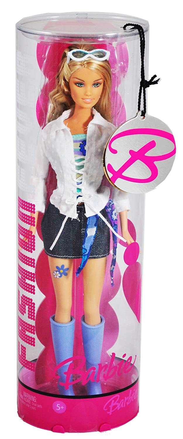Barbie Year 2006 Fashion Fever Series 12 Inch Doll - Barbie with Sunglasses, Lavender Boots, White Jacket and Blue Denim Skirt (J1408) leadingstar barbie doll dresses 6 party dress 12 casual skirt set random color and styles with doll s accessories zk30
