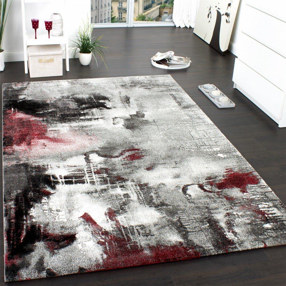 Teppich Modern Designer Teppich Leinwand Optik Meliert Schattiert Grau Rot Creme, Grösse120x170 cm    Bewertungen und Beschreibung