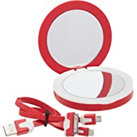 PowerNow! Compact Mirror/3,000,Ah Power Bank (Red)