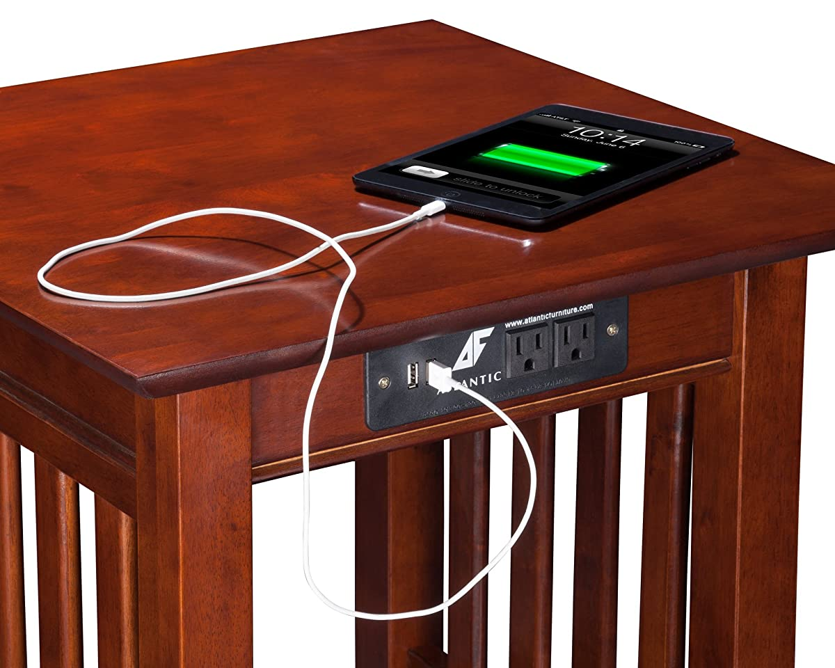 Atlantic Furniture MIS214651421AH Mission End Table with USB Charger, Walnut