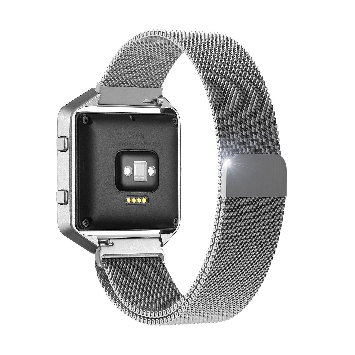 Fitbit Blaze Accessories Band Small, UMTele Plexus Milanese Loop Stainless Steel Mesh Bracelet Replacement Band Strap with Unique Magnet Lock for Fitbit Blaze Smart Fitness Watch Silver (5.1