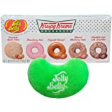 By The Cup Gift Set - Jelly Belly Krispy Kreme Doughnuts, 4.25 Ounce Gift Box - with Jelly Bean Emoji Mini Plush Toy