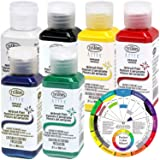 TESTORS - AZTEK Premium OPAQUE Acrylic Airbrush Paint 6-Color Set with FREE Color Wheel